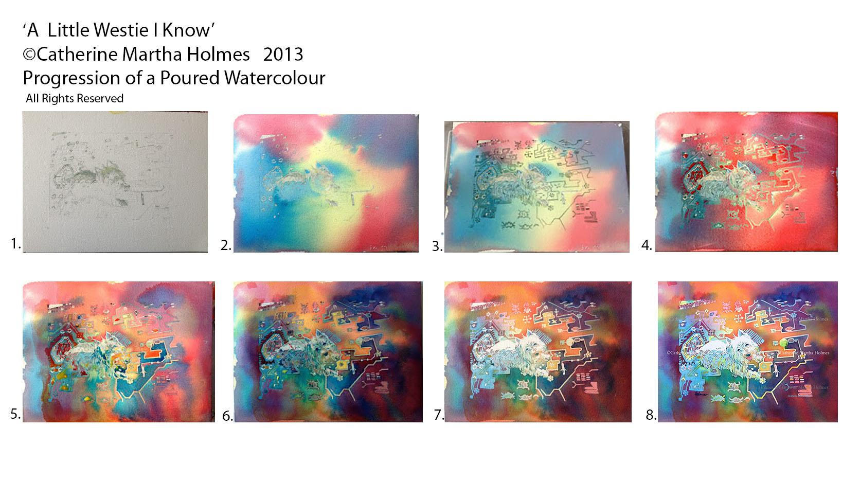 Westie Poured Watercolour Steps